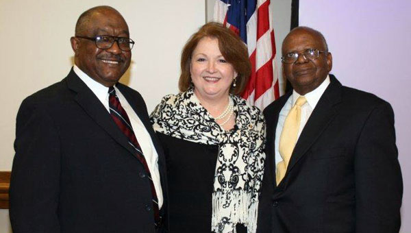 Longtime Greenville City Councilman James Lewis (right) died Sunday night. Lewis, pictured with Councilman Jeddo Bell and City Clerk Sue Arnold, was first elected in 1984. (Courtesy Photo)