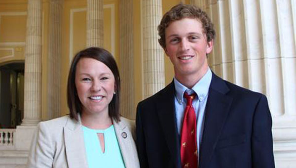 Daniel Hall Autrey, a Greenville native who will attend Rhodes College in the fall, served as a Congressional intern in the D.C. office of U.S. Representative Martha Roby (R-AL) this summer. (Courtesy Photo)