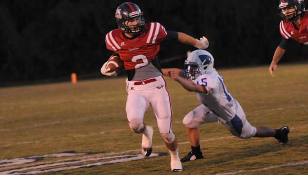 Fort Dale Academy senior wide receiver Austin Vickery caught three passes for 134 yards and two touchdowns in the Eagles 35-26 win over Wilcox Academy Friday night. (Advocate Staff/Andy Brown)
