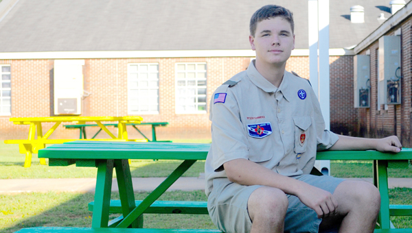 Laun Pryor, a member of Boy Scout Troop 520, helped construct and paint six picnic tables for the break area behind W.O. Parmer Elementary School for his Eagle Scout badge leadership project. (Advocate Staff/Beth Hyatt)