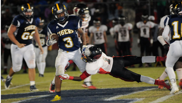 McKenzie runningback Chris Shufford found it difficult to avoid a speedy Jaguars defense as Hillcrest Evergreen claimed a 43-12 win over the Tigers Friday.