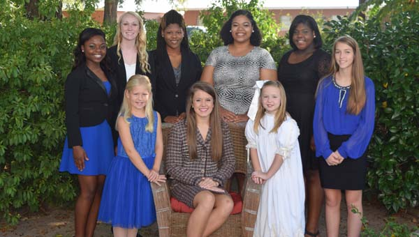 CONTRIBUTED PHOTO The Highland Home homecoming court will be presented at halftime at Friday's game against Zion Chapel. Front row, Haylie Brown, elementary attendant; Kaydra Strength Miss Homecoming 2015; Lauren White, primary attendants. Back row, are Allera June, junior attendant; Harleigh Taylor, freshman attendant; Okieria Wade, Miss Football 2015; Keisha Shepherd, senior attendant; Maalaysia Johnson, sophomore attendant; and Madison Hester, junior high school attendant.