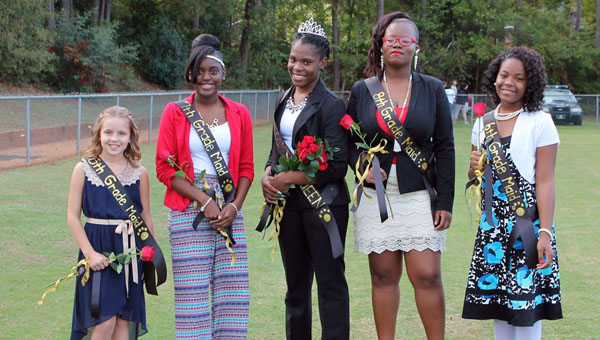 Greenville Middle School celebrated homecoming Tuesday night. Pictured are, from left to right, Vivian Gates, 5th grade maid; Teriyana Fore, 7th grade maid; Tykeria Graham, homecoming queen; Ny'Quandria Rush, 8th grade maid; LaKayla Thigpen, 6th grade maid. (Courtesy Photo)