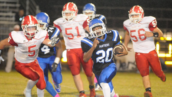 Junior Derrick Johnson Jr. was one of several Panthers who kept the Pleasant Home Eagles on their heels as Georgiana surged to a 40-0 shutout for the final home game of the season.