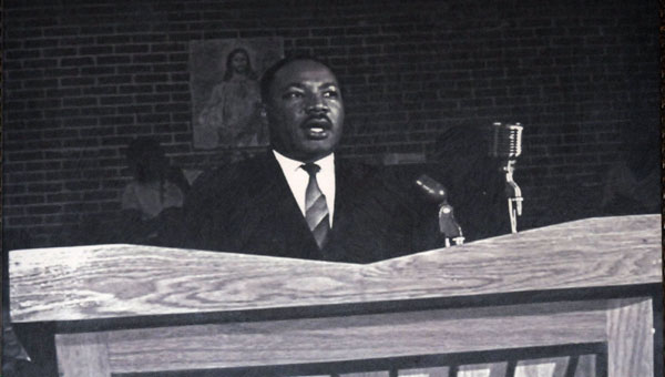 Jim Peppler's photo of Martin Luther King, Jr. speaking at Greenville's Harrison Street Missionary Baptist Church was unveiled Thursday night at the Greenville-Butler County Public Library. (Advocate Staff/Andy Brown)