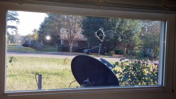 The bedroom window of Lucrecia Middleton's house was shot with a BB gun during what she described as a homecoming prank associated with Greenville High School's homecoming. She said she has filed charges with the Greenville Police Department. (Submitted photo)