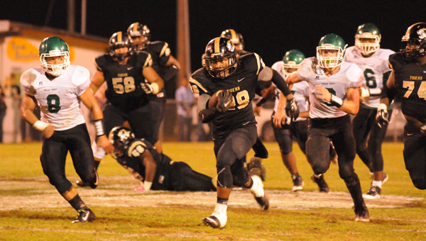 Greenville High School senior running back Dequarius Peterson rushed for three touchdowns in the Tigers' 42-15 win over Dallas County High School Thursday night. (Advocate Staff/Andy Brown)