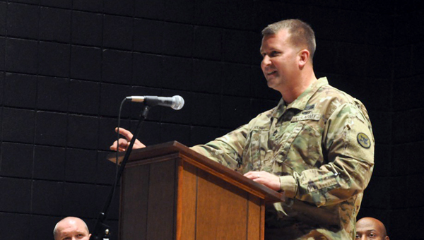 U.S. Army Sgt. 1st Class and Luverne native Sandy Smith served as the keynote speaker at the City of Luverne's Veterans Day Celebration Wednesday at the Dei Center at the Luverne Methodist Church. Smith has served in the armed forces for 23 years.