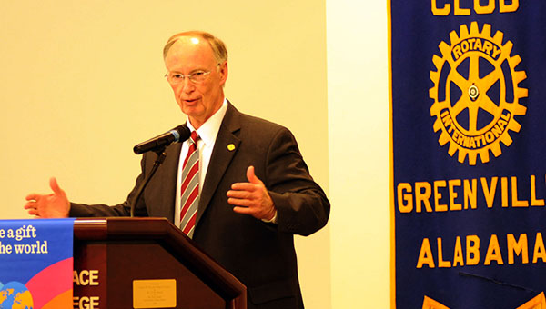 Gov. Robert Bentley served as the guest speaker at the Rotary Club of Greenville's meeting Thursday at LBW Community College. Bentley shared about the items he will be discussing in his upcoming State of the State address. (Advocate Staff/Andy Brown)