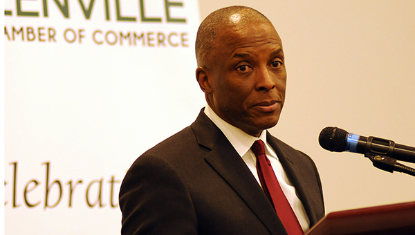 Greenville native Chris Womack, executive vice president and president of external affairs for Southern Company, served as the keynote speaker at the Greenville Area Chamber of Commerce's annual banquet Thursday night. (Advocate Staff/Andy Brown)