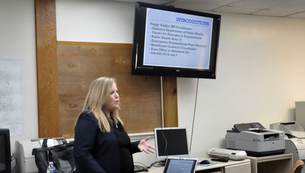 Peggy Hagler, Nurse Coordinator for the Alabama Department of Public Health (ADPH), leads an interest meeting for the Crenshaw County Healthcare Coalition. (Photo by Beth Hyatt)