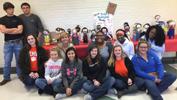 """The tenth grade English class at Brantley High School recently finished a project in honor of Harper Lee's famous novel, """"To Kill a Mockingbird"""". Pictured are from left to right, Anthony Pynes, Ethan Flowers, Cameron Catrett, Rhiannon Hall, Tracey Layton, Mia Davis, Grace Grosenbach, Kyndal Staley, Kawaii Burnette, Shae Odom, Misty Shaulls and Quishyia Jones."""