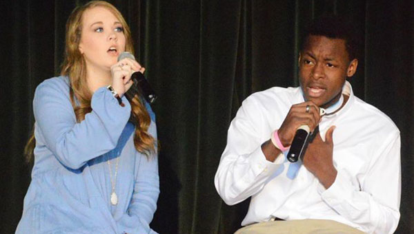 """Recently,  students and facutly of Brantley High School came together to construct a Black History Month program to honor those who had a hand in the history of African Americans. Pictured are, from left to right, Gracie Roberts and Jermany Salter performing """"Amazing Grace."""""""