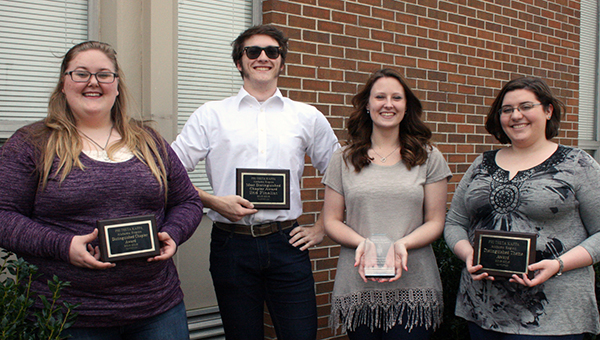 LBW Community College's Phi Theta Kappa (PTK) chapters were recognized at the Alabama regional awards program recently held in Rainsville. Pictured from the Alpha Beta Eta Chapter are, from left, Savannah Scott of McKenzie; and Willie Riedel, Chyanne Allen, and Katie Nail, all of Andalusia. (Submitted photo)