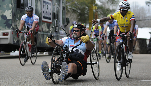 Riders taking part in the Ride 2 Recovery Gulf Coast Challenge made a pitstop in Greenville on Wednesday. The Ride 2 Recovery program is an effort to improve the health and wellness of healing heroes around the world, while also providing a life-changing experience that pushes participants to their physical and mental limits. (Advocate Staff/Jonathan Bryant)