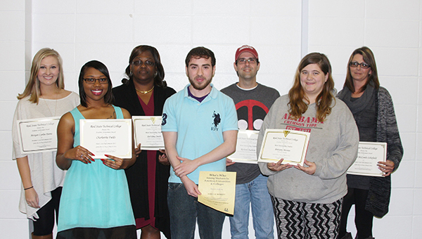 Reid State Technical College recently announced its fall semester honor students. Pictured are, front row, from left to right, Brittany Merritt, Joshua Burkett and Charleetha Fields. Back row, from left to right, Morgan Davis, DeVelma Smith, Richard Ausborn, and Crystal McCombs Schofield. (Courtesy Photo)