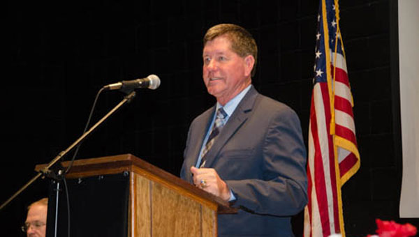 Pictured is Ray Hilburn accepting the Citizen of the Year award at the annual Chamber banquet. (Submitted photo)