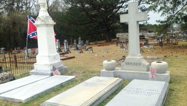 The Bricken family plot is located in Emmaus Cemetery in Luverne, Ala. The Benjamin Bricken Camp of the Sons of Confederate Veterans recently repaired and cleaned the tombstones.