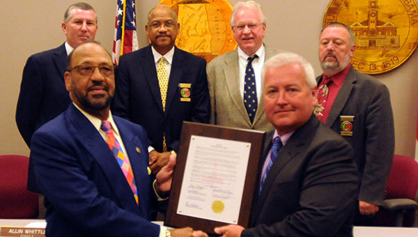 On Monday, the Butler County Commission honored longtime jail administrator Al McKee by passing a resolution recognizing his service to Butler County Sheriff's Office and the county as a whole. (Advocate Staff/Andy Brown)