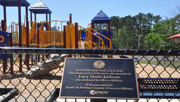Last week, the Luverne Kiwanis Club held a dedication ceremony in honor of the new playground established in E.L. Turner Jr., Park. These plaques stand in honor of Alvin Bland and Lucy Spain Jackson, both of whom dedicated much of their time and attention to helping children. (Photo by Beth Hyatt)