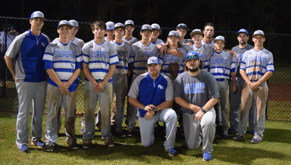 Pictured are, front row from left to right, coach Justin Bragg and coach Jared Owens. Pictured are, second row from left to right,  coach Jonathan Jordan, Chase Mansmann, Clay Hobbs, Daniel Phillips, Noah Phillips, Cole Brightwell,  Avery Bradley,  Aubrey Reeves and Brandon Strength. Pictured are, third row, from left to right, Cason Brightwell,  Moe Moseley, Cody Brown, Treyton McGough, Dillon Harris, Kaleb Rinehart and coach Jason Williams.