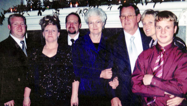 The Moore family attending a wedding in Brewton six years ago. Pictured are, from left to right, Drew Smith, Lynn Smith, Phillip Anthony Moore, Judy Moore, Phillip Moore, Missy Moore and Jonathan Smith.