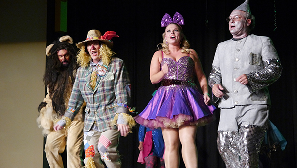 """From left to right, Tom Payne, Dent Neilson, Stephanie Connor and Steve Norman perform """"Ease on Down the Road"""" during the opening night of Putting on the Ritz. (Advocate Staff/Angie Long)"""