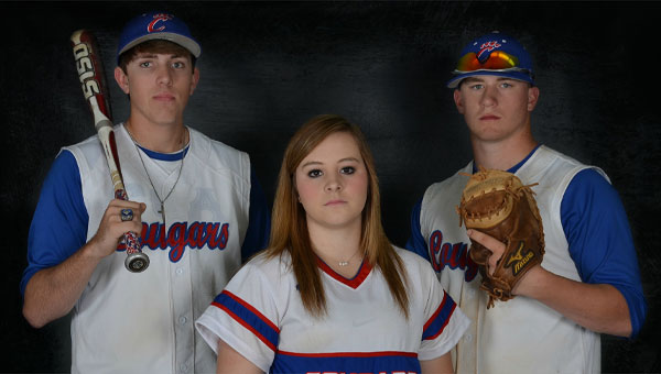 Pictured are, from left to right, senior baseball and softball players Caleb Tisdale, Emily Holley and Collin Holloway.  The seniors were recently honored by CCA at a dinner to thank them for their dedication to the school.