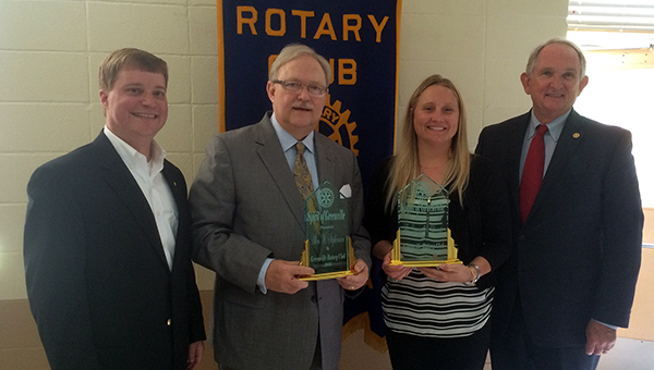 On Thursday, the Rotary Club of Greenville presented Allen Stephenson and The Greenville Advocate with its Spirit of Greenville Award. Pictured are, from left to right, Howard Meadows, Rotary Club of Greenville president; Allen Stephenson; Tracy Salter, publisher of The Greenville Advocate; and Dr. Jim Krudop, Rotarian. (Advocate Staff/Andy Brown)