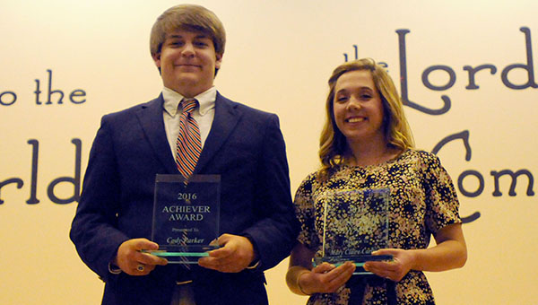 Fort Dale Academy seniors Cody Parker and Mary Claire Carlton were presented the 2016 Achiever Awards during a banquet on Thursday night at First Baptist Church. (Advocate Staff/Andy Brown)