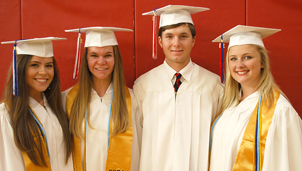 Five local students who will be attending the University of Alabama in the fall were recently awarded scholarships from the Butler County University of Alabama Alumni Chapter. Pictured are, from left to right, Hannah Miller, Jessica Little, Trip Deshields, and Kendall Lambert, all students at Fort Dale Academy. (Courtesy photo)