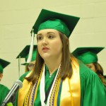 Valedictorian Cassidy Catrett addresses the class as graduation comes to a close. (Photo by Beth Hyatt)