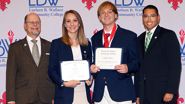Pictured are, from left, LBWCC President Dr. Herb Riedel; Sarah Elizabeth Godwin of Greenville, LBWCC All-Alabama Academic Team and Coca-Cola Silver Scholar; Johnathn Phillips of Highland Home, Coca-Cola Bronze Scholar; and Dean of Student Affairs Jason Jesse.