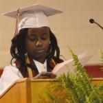Valedictorian Nadaja Adoree Debose addresses her classmates. (Photo by Beth Hyatt)