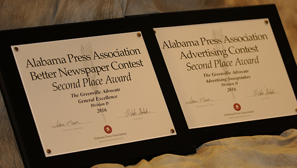 The Greenville Advocate was recognized as one of the top small weekly newspapers in the state during the Alabama Press Association's Summer Convention in Destin, Fla. The Advocate received second place for General Excellence and Advertising Sweepstakes in the APA's Better Newspaper Contest and Advertising Contest, respectively. General Excellence and Advertising Sweepstakes are the top awards given in the contests.