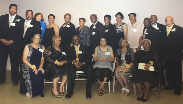 Pictured are, first row from left to right, Mabel Bodiford Williams, Irene Dorsey Lowery, Lessie Smith, Elaine Jones Pluckett, Lizzie Bedgood Morris and Willie Steen Downing Golden-Green.  Pictured are, second row from left to right, Bennie McDonald, Lamar Kendrick, Jeanette Colston Merrills, Nadine Patterson Smith, Linda Peterson Long, Mattie Johnson, Charlie Merritt, Louise Stringer Hibbs, Christine Cantlow King , Jesse Salter, Jr., Raymond Riley, Samuel Stough and Johnny Lowery.  Not pictured are Voncile Bozeman Harris, Girtha Wilkerson thompson and Hurriah Stroud.