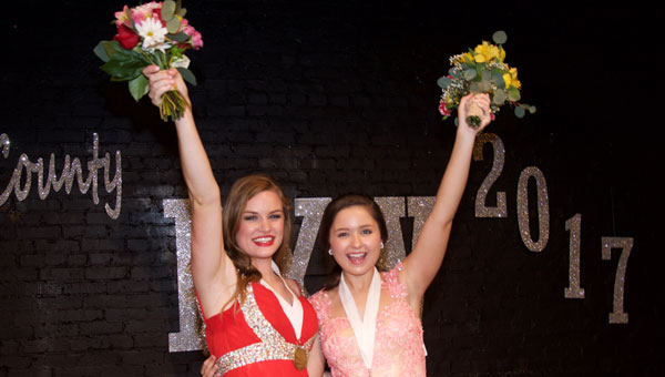 Saturday night, Railey Ayers (left) was named the 2017 Crenshaw County Distinguished Young Woman. Ayers is pictured with last year's winner, HeartLee Pittman (Photos by Beth Hyatt)