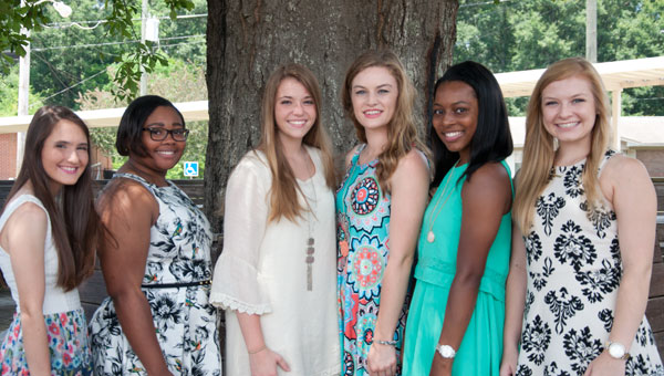 Pictured are, from left to right, the 2016 Distinguished  Young Woman contestants, Haley Ward,  Ascia Brown, Hannah Mathis, Railey Ayers, Tiara Cowart and Mary Strickland.