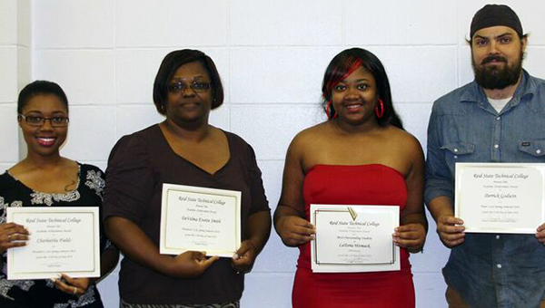 Reid State Technical College recently announced its spring semester honor students. Pictured are, from left to right, Charleetha Fields, office administration, President's List; DeVelma E. Smith, office administration; President's List; Latoria Womack, phlebotomy, Dean's List; and Derrick Godwin, welding, Dean's List. (Submitted photo)
