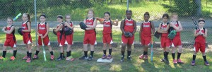 The five and six-year-old girls' softball team will play Tallassee at 5 p.m. on Friday,  July 8 at Edward Thompson Park in Montgomery. The girls' six and under team is a coach's pitch league. Pictured are, from left to right, Tatum Ballard, Natalie Beck, Haylee Campbell, Sarah Strickland, Peyton Faulk, Ellie Butler, Jamie Morgan, Cheyenne Owens, Kayleigh McCreary, Brooke Horn, Saraah Tanner-Baker and Camryn Brown.