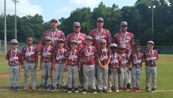 The Luverne All-Star six and under team finished third in the state tournament, tied with Enterprise American, this past weekend. Pictured are, first row from left to right, Greyson Matthews, Jayden Laird, Logan Frazier, Will Blackmon, Jacob Rogers, Mason Cox, Logan Murphy, Jadaveon McCreary, Porter Beasley, Kevin Freeman and Connor Schofield. Pictured are, second row from left to right, Chris Matthews, Jody Rogers, David Cox and Brian Blackmon. Not Pictured is Jacob Walden.