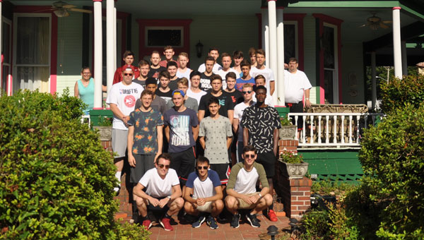 The Belgian students from Youth Sports Exchange are happy to call the Camellia House Bed and Breakfast their temporary home for the next few days as they come to Alabama to experience culture and shoot some hoops. (Photo by Beth Hyatt)