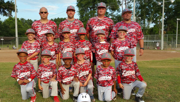 The boys' six and under coach pitch team will play in the State Dixie Youth Tournament in Dothan on Thursday, July 7 at Eastgate Park. Pictured are, first row from left to right, Kevin Freeman, Porter Beasley, Jadaveon McCreary, Greyson Matthews, Jacob Walden and Jacob Rogers. Pictured are, second row from left to right, Logan Murphy,  Will Blackmon, Logan Frazier, Jayden Laird, Connor  Schofield and Mason Cox.  Pictured are, third row from left to right, the coaches for this team Brian Blackmon, Chris Matthews, David Cox and Jody Rogers.