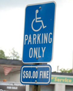 Officials say that parking in a handicapped parking spot without proper tags and signs can result in fines beginning at $50 and ending at $300. (Photo by Beth Hyatt)