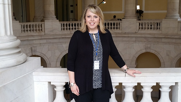 """Jennifer Hall is pictured in the U.S. Capitol as she represents LBW Community College during """"Hill Day"""" to advocate adult education. (Courtesy photo)"""