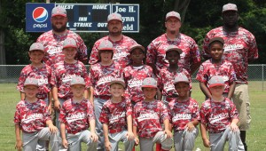 The eight and under Dixie AA machine pitch baseball team is scheduled to play in the State Tournament against Muscle Shoals on Friday, July 8 at 5 p.m.  at the Troy Sportsplex. Pictured are, first row from left to right, Steven Malone, Aiden Sampley, Bryce Poitevint, Brady Kilpatrick, Marquel Parks and John Braden Catrett.  Pictured are, second row from left to right, Grant Taylor, Aiden Warr, Bryce Rushing, Tavion Rainey, Randy Harris and Uriah Barginere. Pictured are, third row from left to right, the coaches for the team John Catrett, Jeremy Kilpatrick, Chris Warr and Justin Knight.