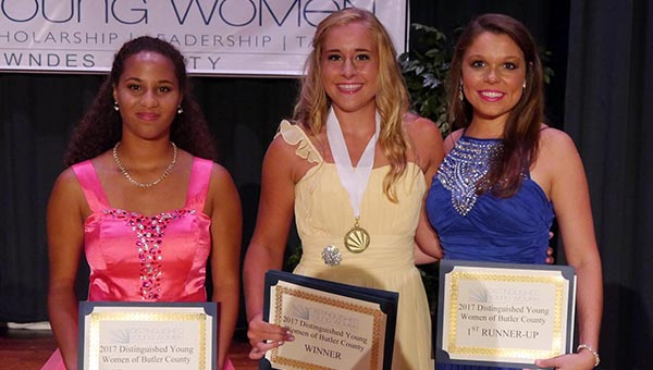 Pictured from left to right, Georgiana School's Claire Ledbetter, second runner up; Fort Dale Academy's Madison Gibson, Butler County DYW for 2017; and Fort Dale Academy's Jennifer Grace Arnold, first runner up. (Advocate Staff/Angie Long)