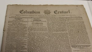 This 1794 edition of the Columbian Centinel can be found on display in the Luverne Public Library,  and features correspondence between George Washington and John Adams.  (Photo by Shayla Terry)