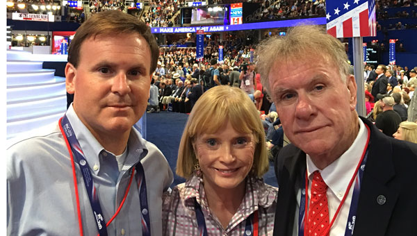 Pictured are, from left to right, Bill Rayborn, Suze Butts and Terry Butts at the 2016 Republican National Convention.
