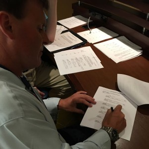 Pictured is Bill Rayborn adding his signature to the electoral petition during the 2016 Republican National Convention. Rayborn was one of 20 Alabama delegates to sign this petition; Alabama was one of eight states to participate in the signing as well.